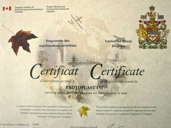 Protoplast Receives Renewal Certificate for Controlled Goods Program